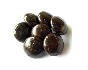 6 Vintage leather buttons 18mm, metal shank dark brown