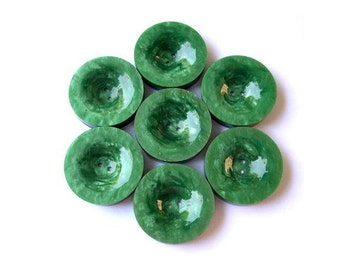 6 Vintage buttons plastic buttons, green, 29mm, 6mm thick