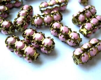 Vintage SWAROVSKI  bead pink opaque crystals in metal setting genuine 1100 made in Austria