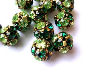 2 Vintage Swarovski crystal ball bead 11mm, rhinestones green shades in brass setting- RARE