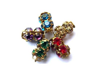 5 Vintage SWAROVSKI beads 5 colors rhinestones crystals in metal setting genuine 1100 made in Austria