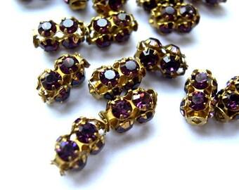 2 Vintage SWAROVSKI beads purple rhinestones crystals in metal setting genuine 1100 made in Austria