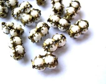 2 Vintage SWAROVSKI  beads  opaque white milk crystals in metal setting