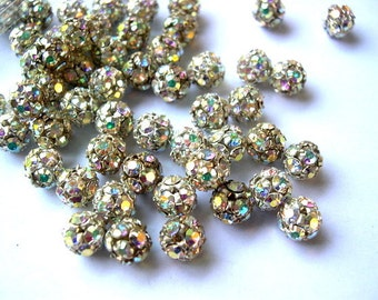 2 Vintage Swarovski crystal ball beads, 8mm, clear rhinestones  in brass setting- RARE