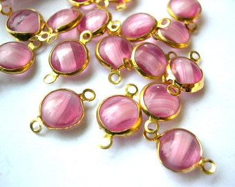 6 Vintage Austrian  beads, glass channel beads, rose pink, might be Swarovski