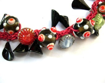 Necklace button jewelry ONE OF A KIND vintage antique buttons and beads on crocheted leather cord