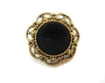 6 Vintage flowers buttons lace design with black velvet button jewel 25mm