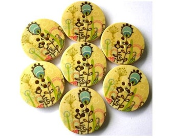 6 Wood buttons colorful printed flowers 25mm