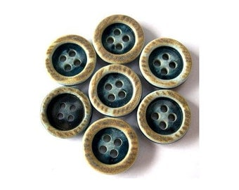 10 Vintage plastic buttons, blue 15mm, can be use as beads for button jewelry