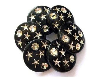 6 vintage boutons en plastique noir avec de l'argent de couleur étoiles et pois, 21mm
