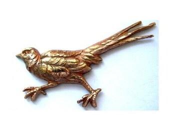 2 birds vintage metal stamping findings