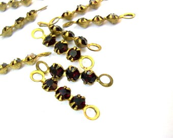 6 Vintage Swarovski crystal connector beads, 3 dark red rhinestones in brass setting- RARE