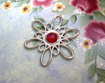 Vintage silver color metal flower with red Swarovski crystal jewelry finding 40mm, RARE