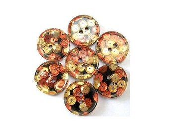 6 Vintage buttons black with gold color and cooper color sequins 18mm