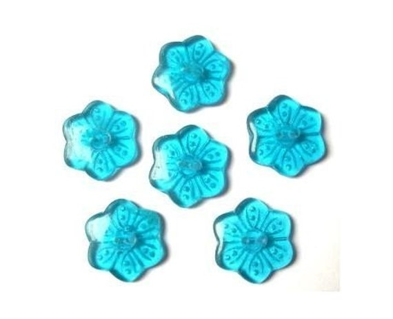 6 Vintage glass buttonssix petal flower shape by oritdotan