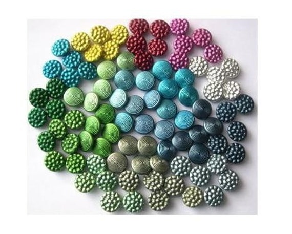 90 Vintage metal buttons, set of 18 colors, assorted colors, can be use as beads, proper for creating buttons jewelry, 13mm