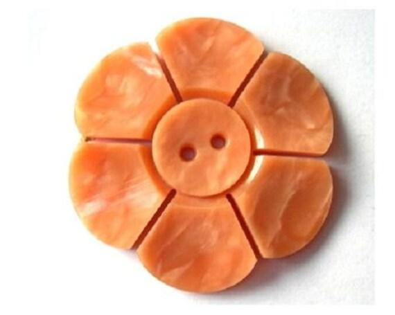 Vintage button, plastic, flower shape, light orange, large, 40mm, proper for button jewelry