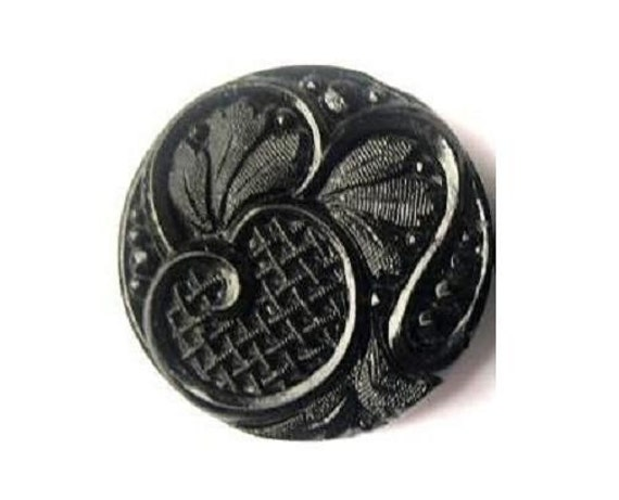 Antique vintage button,  Czech,  glass, black, carved floral ornament, can be use for button jewelry