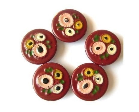 6 Vintage metal painted buttons, flowers picture,collectible, rare, proper for button jewelry