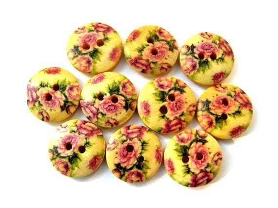 10 Buttons, wood, wooden, rose flower picture, 15mm, proper for button jewelry