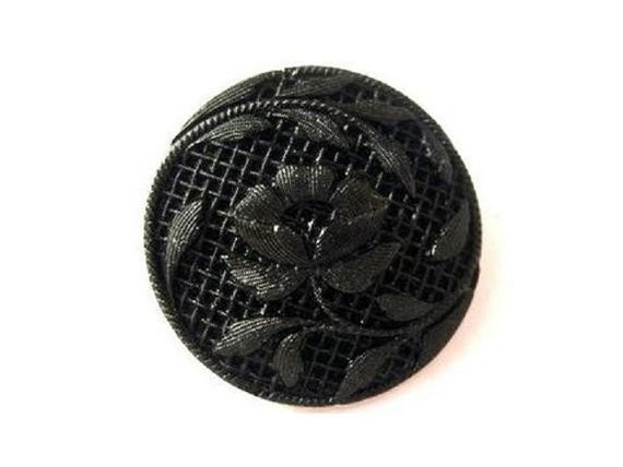 Antique vintage button, Czech, glass, black, carved floral ornament, can be use for button jewelry, 27mm