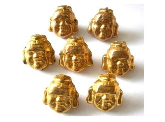 RESERVE to maya stølen-23 Buttons, antique vintage, Budha head shape, gold color, rare, 16mm
