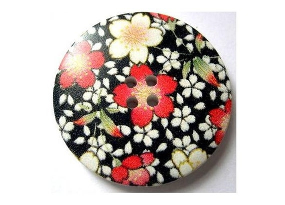 3 Buttons, wood, 40mm, black with white red flowers picture, for crafts, button jewelry
