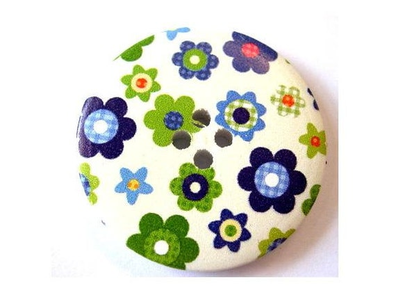 3 Wood buttons 40mm, white, colorful flowers in blue and green