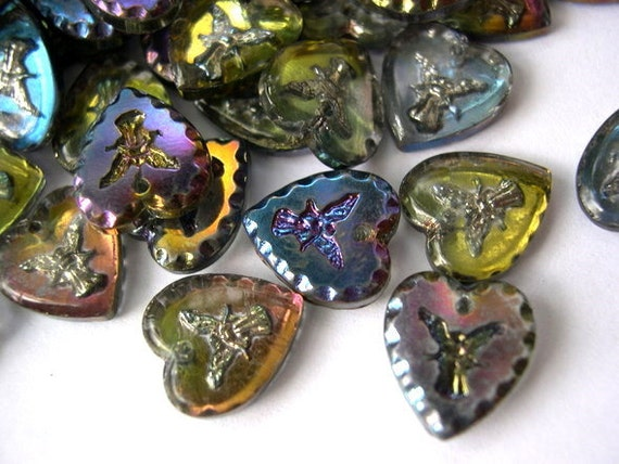 6 Vintage beads, HEART shape,  glass, Czech, carved angel, 12mmX11mm, RARE