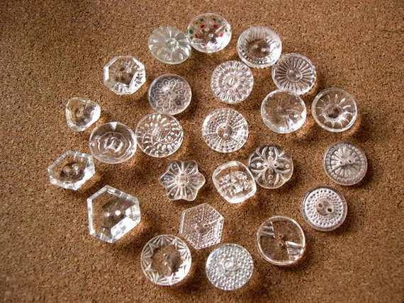 24 antique vintage Czech crystal buttons assorted shapes and ornaments