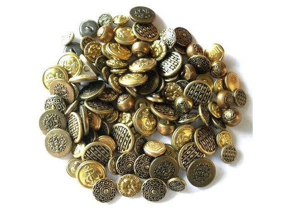 60 Antique and vintage buttons,10 kinds, metal, assorted shapes and ornaments