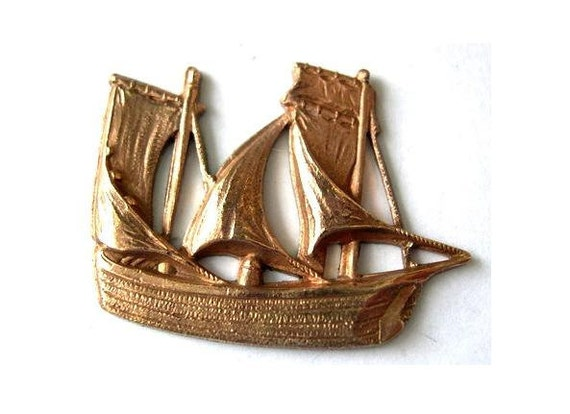 Vintage boat shape metal stamping, findings made of copper