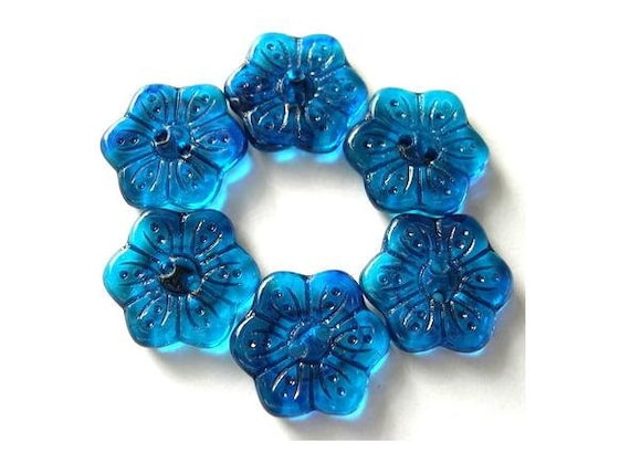 6 Vintage buttons flower shape hand painted in blue czech 16mm, for button jewelry