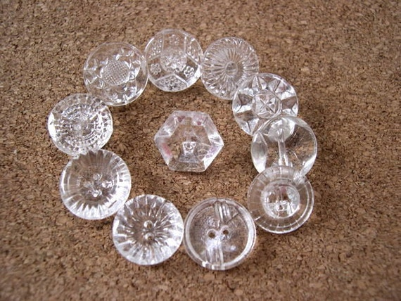 72 Antique vintage glass buttons