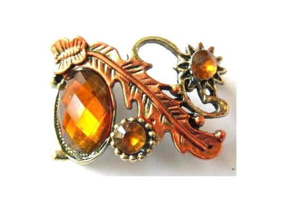 Rhinestone jewel bead, metal base with flowers, amber color rhinestone, retro vintage style