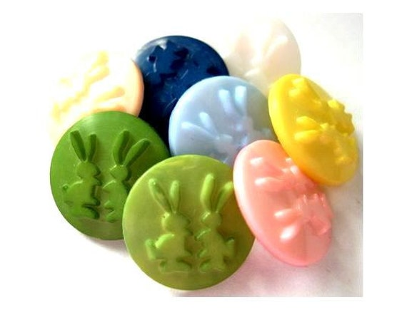 8 Plastic buttons etched bunnies, 8 colors, might be vintage, beautiful for children, 15mm