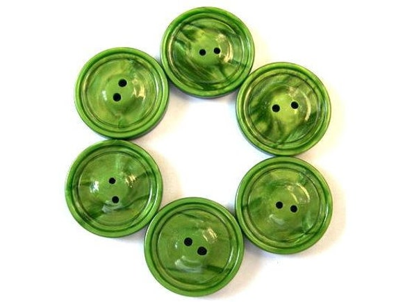 6 Buttons, green grass color plastic vintage buttons, 22mm
