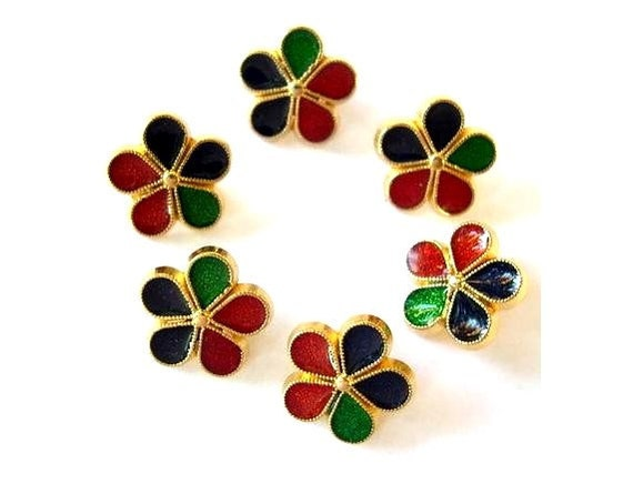 6 Vintage buttons, enamel flowers buttons, proper for button jewelry,15mm