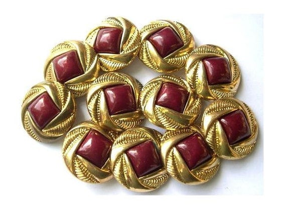 11 Vintage buttons gold color plastic with square dark red trim center 25mm, retro