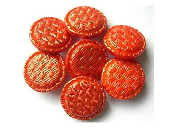 10 Vintage buttons lucite plastic orange  20mm