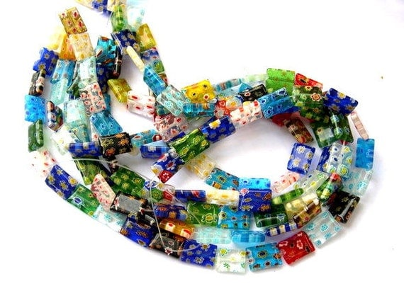Millefiori Glass beads lampwork rectangle beads 14x10mm, 1 strand about 25 beads