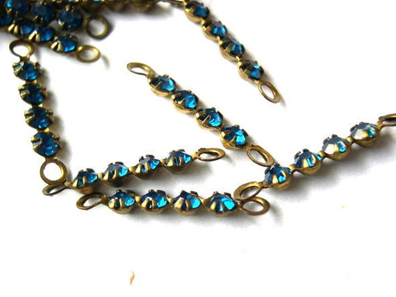 RESERVED to Kathy Fisher -7 Vintage Swarovski crystal connector beads, 4 blue rhinestones in brass setting- RARE