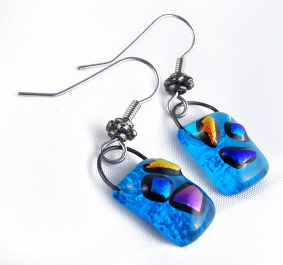 Silver, dichroic glass and light blue glass earrings