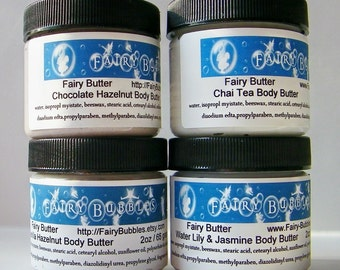 Moisturizers, Lotion, Body Butter, 4 two ounce jars of Body Butter or Aloe Shea Lotion for 20.00 Dollar, Mini Jar Lotions, Stocking Stuffers