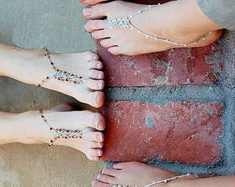 7 PAIRS Barefoot Sandals - CUSTOM PACKAGE - Foot Jewelry Slave Anklet Toe Ring Thongs Beach Destination Soleless Boho