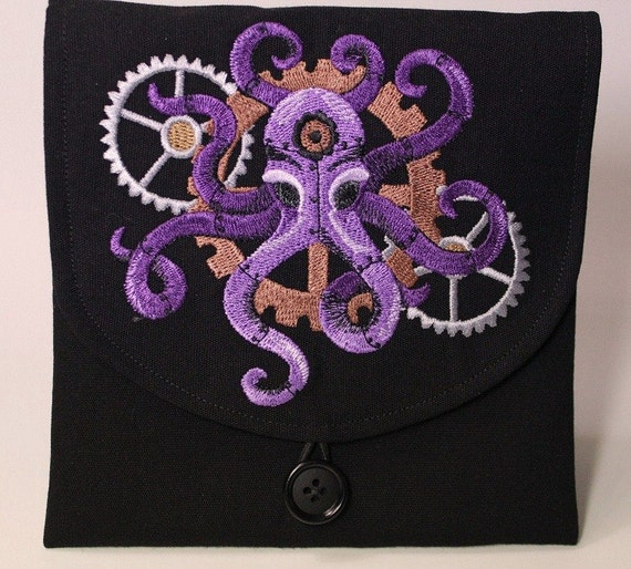 Reserve for  Aylish11 Steampunk Octopus Embroidered Pouch