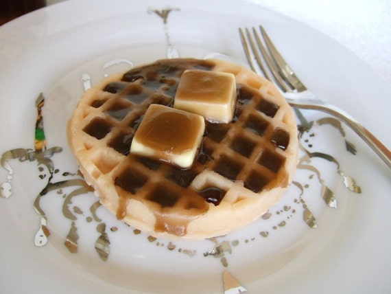 Waffle with butter and syrup soap