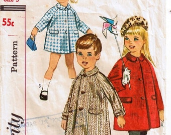 Vintage 1960s Childs Over Coat Sewing Pattern Size 5 years Simplicity 5685