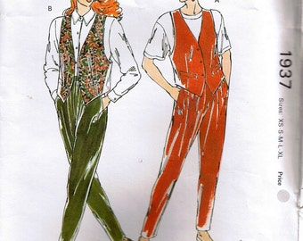 80s Sewing Pattern Ladies Vest and tapered Pants with Elastic Waist 5 sizes