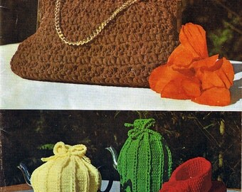Vintage 1960s Crochet Knitting Patterns Hand Bags Slippers Tea Cosies